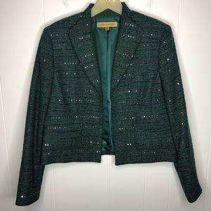 Nipon Boutique green blazer w/sequins. Size 12
